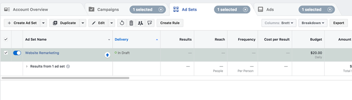 facebook remarketing ad set optimization