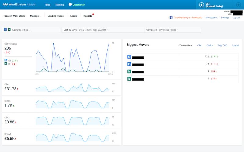 WordStream Performance Dashboard