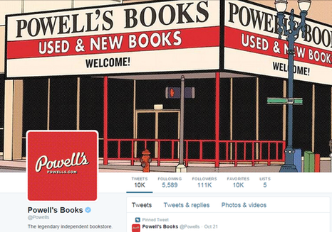 Niche marketing Powell's Books twitter page