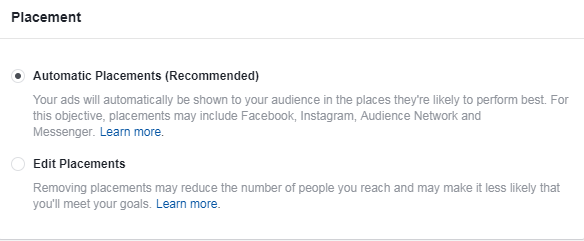 facebook for b2b advertisers don't use automatic placements