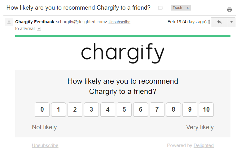 Non-newsletter emails Chargify