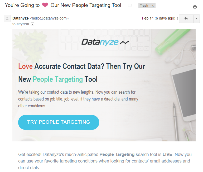 Non-newsletter emails Datanyze product update example