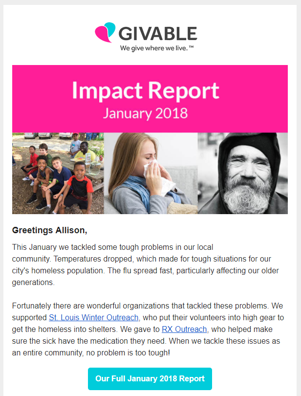 Non-newsletter emails Giveable monthly impact report example