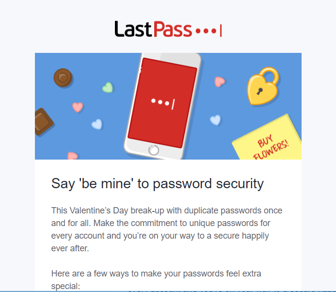 Non-newsletter emails LastPass holiday email