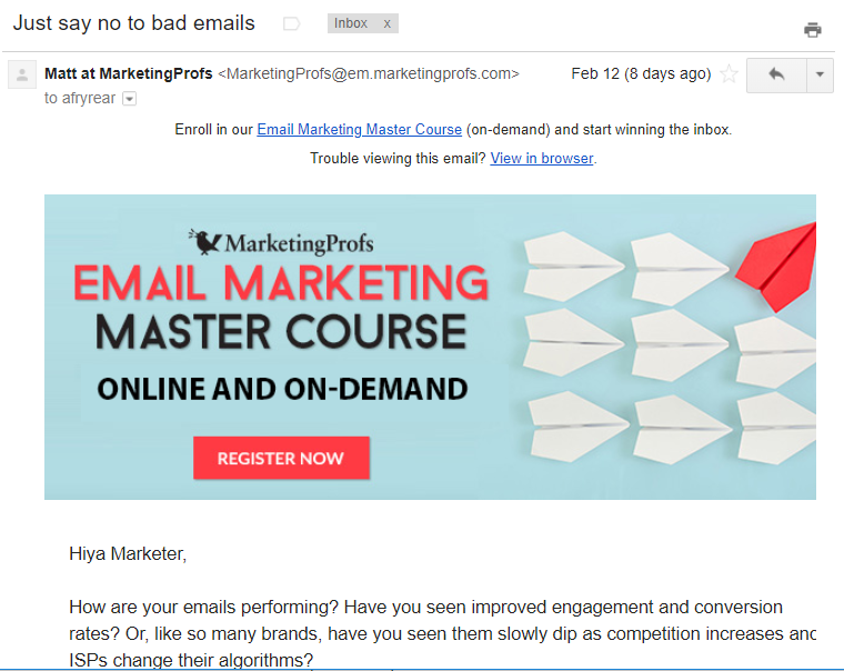 Non-newsletter emails Marketing Profs email marketing course offer example