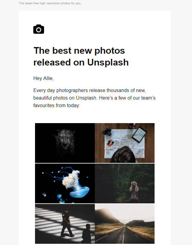 Non-newsletter emails Unsplash