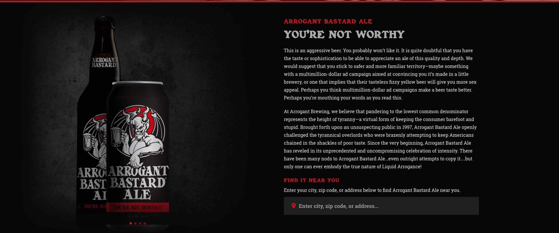 Ogilvy advertising Arrogant Bastard Ale ad