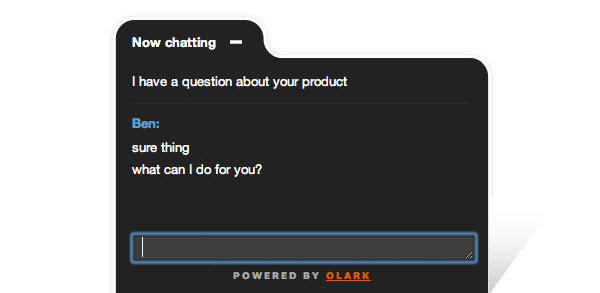 live chat on product landing pages