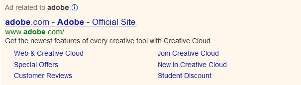 google ad sitelink old
