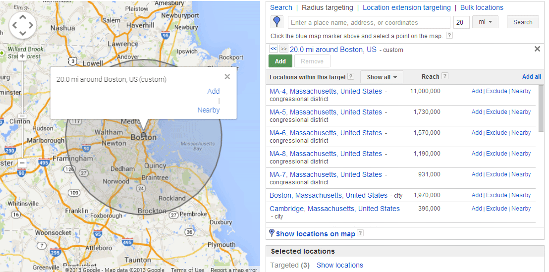 Online advertising costs AdWords geotargeting options physical radius