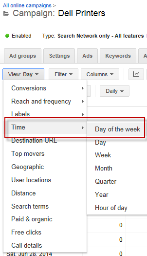 Online advertising costs adjusting dayparting settings Google AdWords