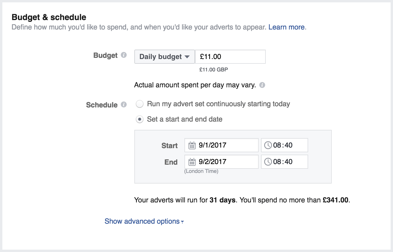 Online advertising costs Facebook Ads daily budget settings