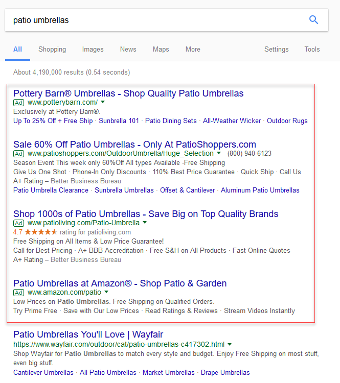 Online advertising costs Google SERP example
