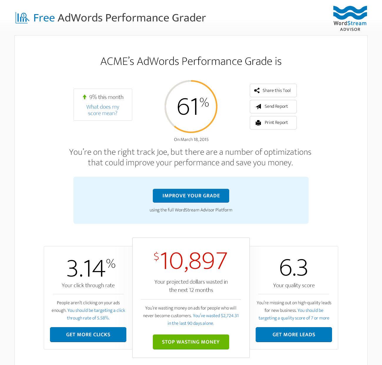 Outils de marketing en ligne WordStream AdWords Performance Grader