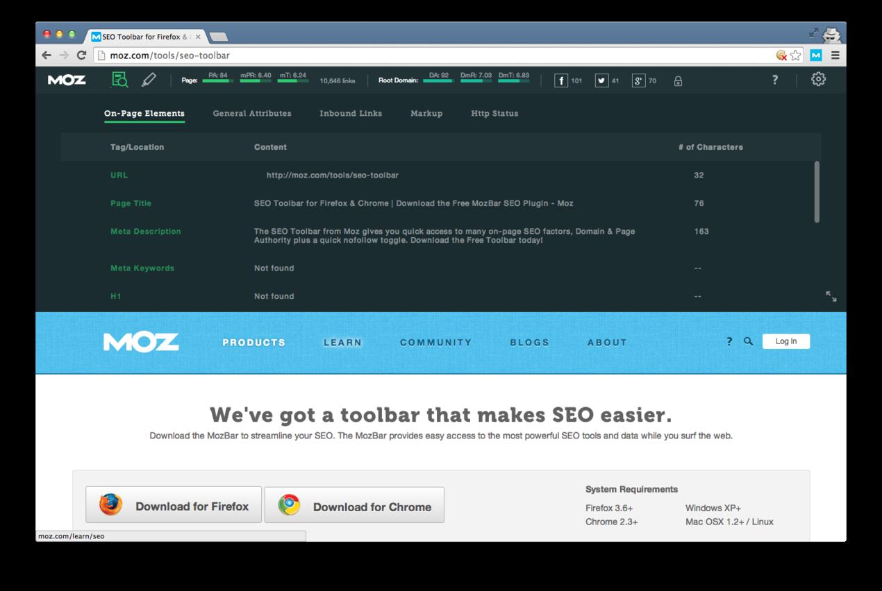 Online marketing tools Mozbar