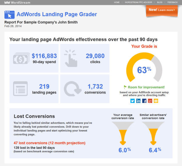 Outils de marketing en ligne WordStream Landing Page Grader