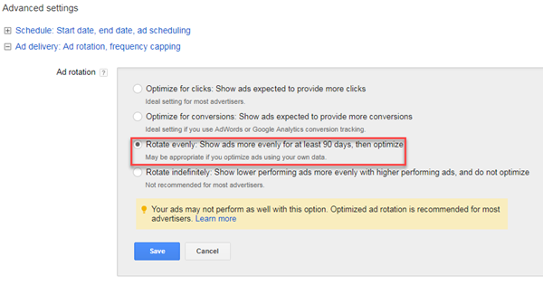 optimizing adwords ad rotation for sentiment analysis