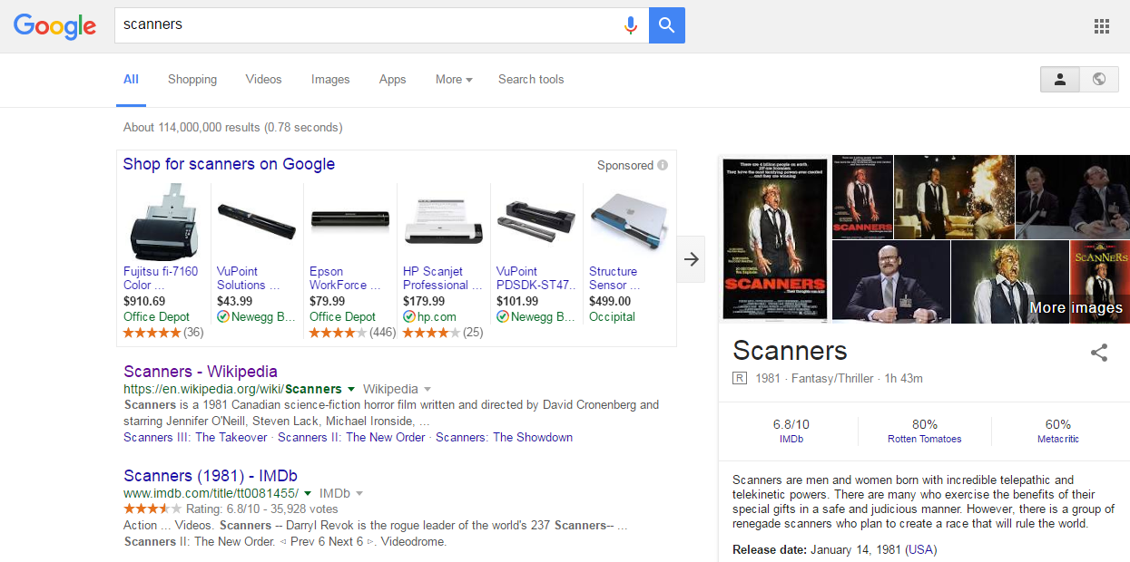 Optimizing images for commercial intent Scanners SERP