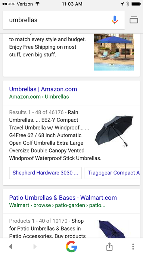 sitelink carousel on mobile serp