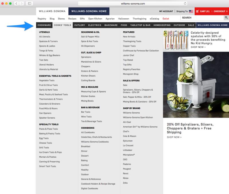 site conversion menu optimization