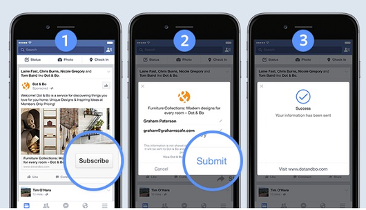 New paid ad features screenshot of Facebook mobile lead ads