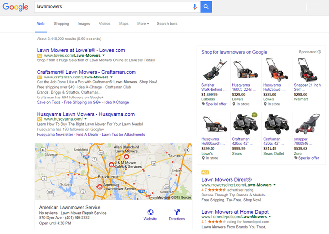 SERP paid results example