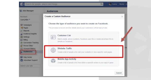 Paid social media Facebook custom website audiences