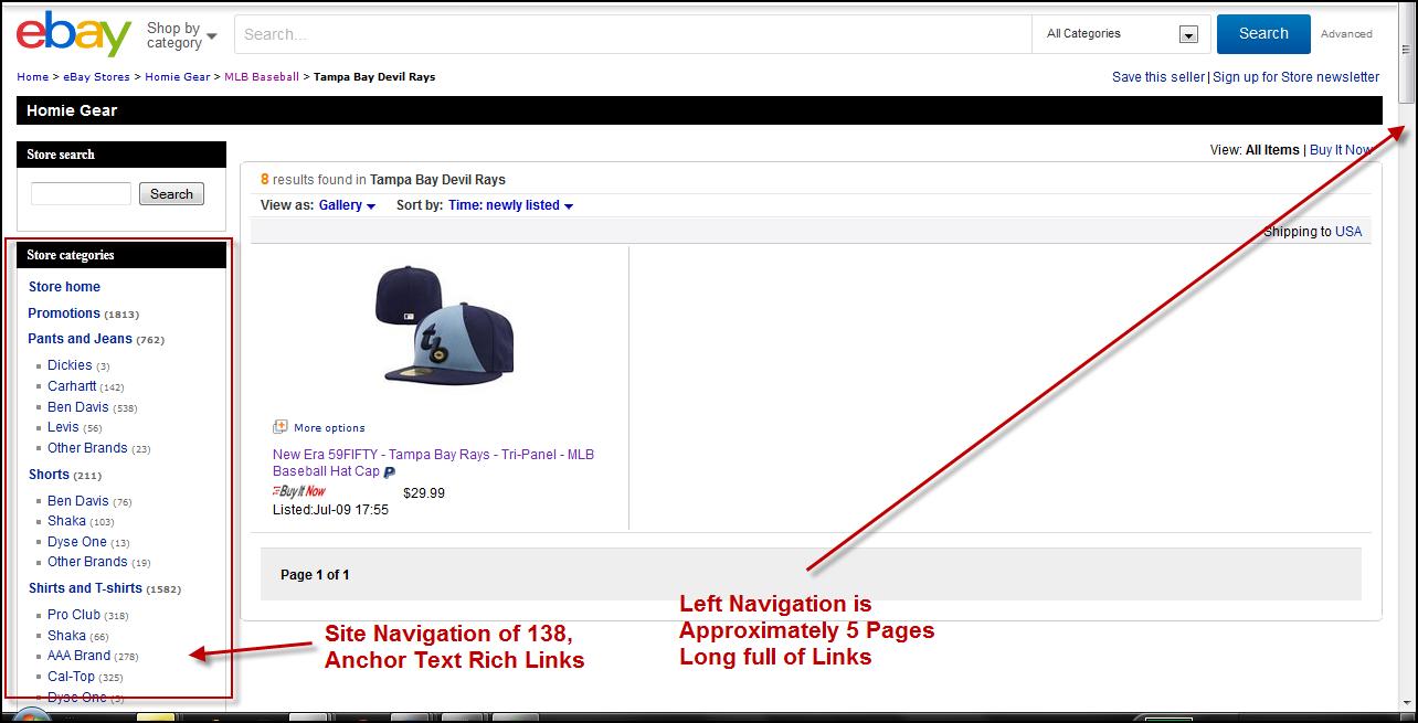 ebay thin content