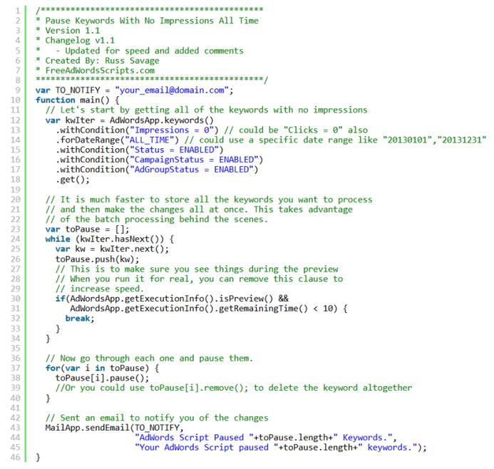 adwords scripts for keywords