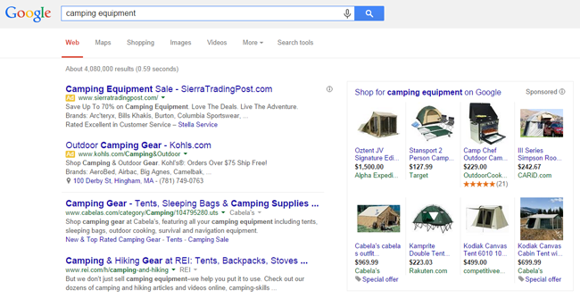 Pay per click advertising example SERP