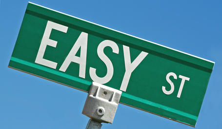 Persuasive landing pages Easy Street sign