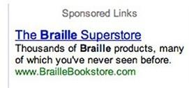 PPC ad copy Braille ad