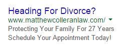 PPC ad headlines divorce ad