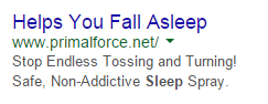 PPC ad headlines sleep aid ad