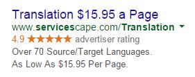 PPC ad headlines translation ad