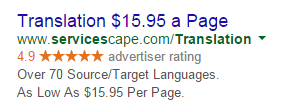 PPC ad headlines translation ad