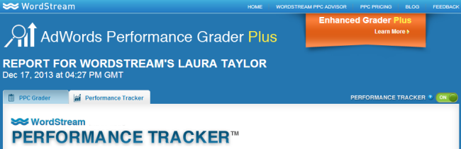 AdWords Performance Grader Plus for PPC Analysis