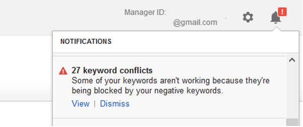 negative keyword conflicts audit