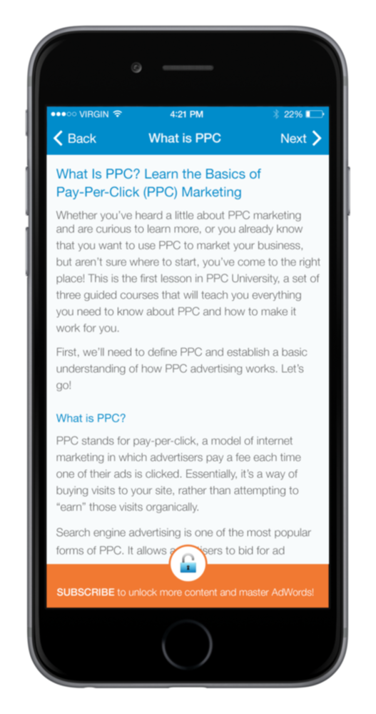 PPC University app navigation