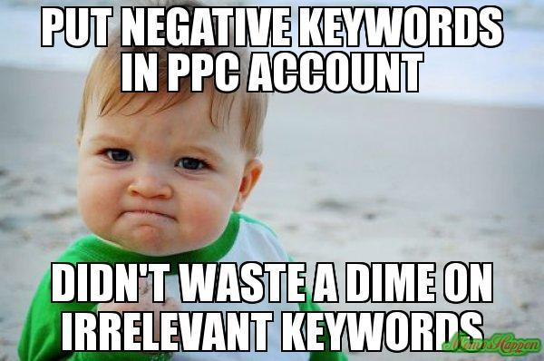 Putting negative keywords in the account meme