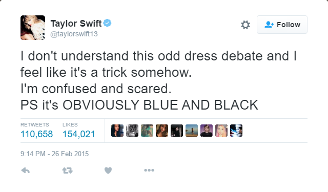 PR stunts Taylor Swift The Dress tweet