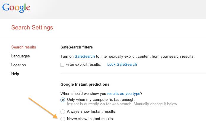 Google Predictive Search Disable
