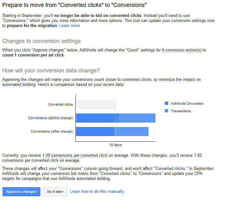 move converted clicks to conversions