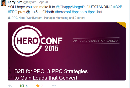 Presentation tips tweet from Larry promoting my session