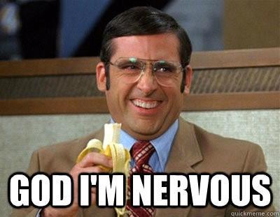 """Presentation tips funny image of Steve Carel saying """"God, I'm nervous!"""""""