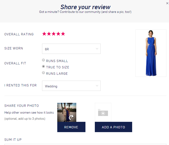 Product pages customer review