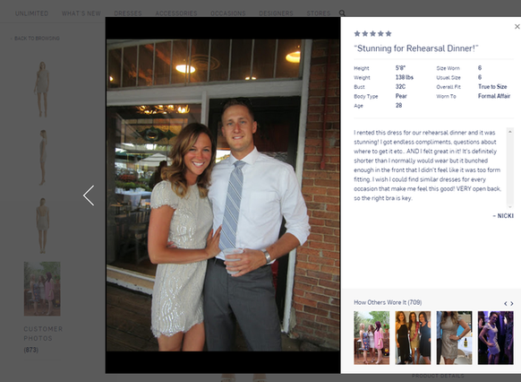 Product page example of a review from Renttherunway