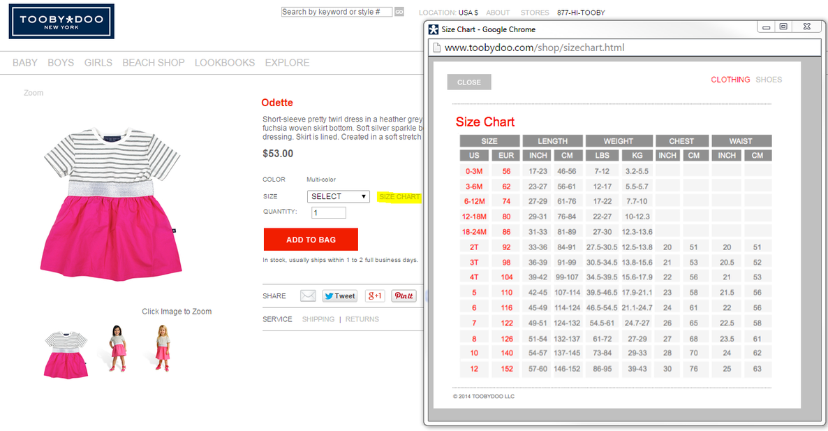 Product page example with a size chart