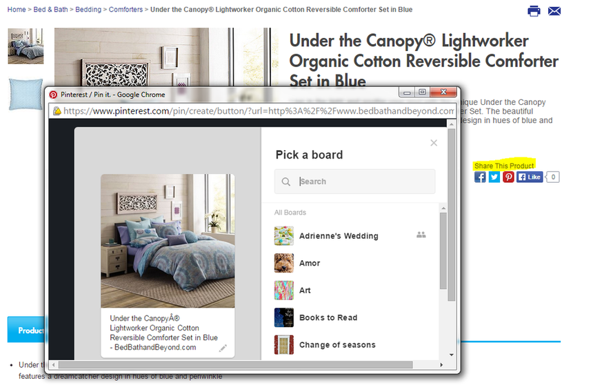 Product pages example of social sharing