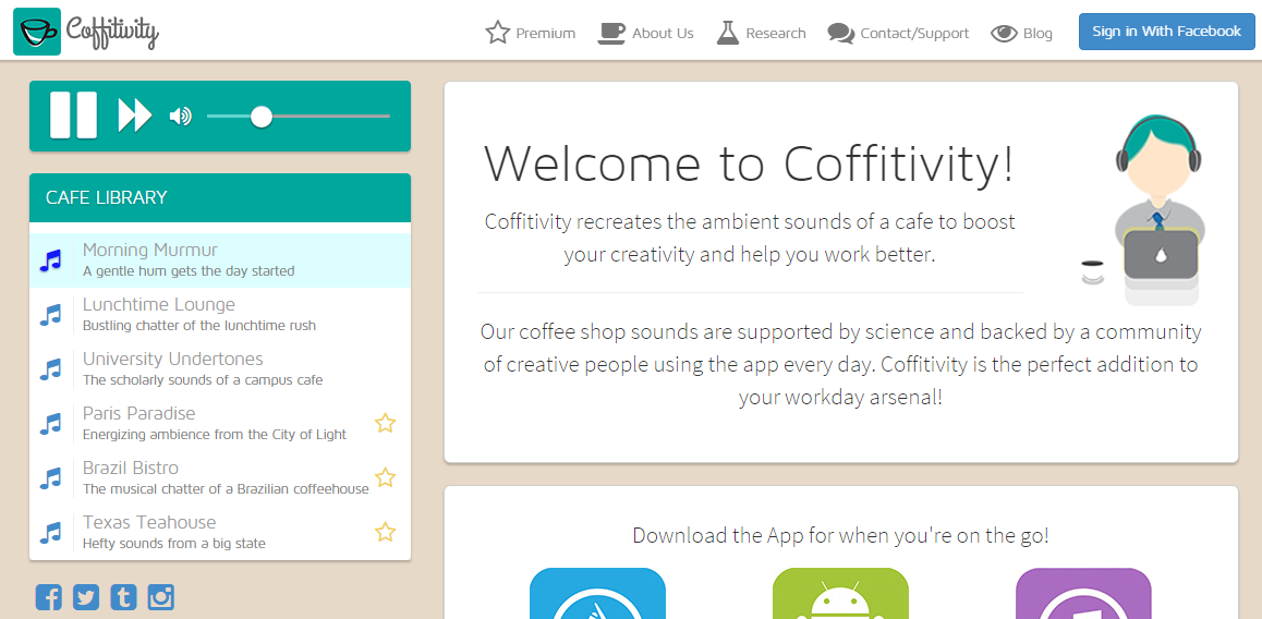 Productivity for content marketers Coffitivity